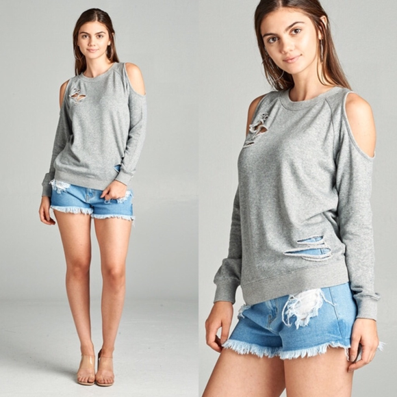 Heather Grey Cold Shoulder Distressed Sweatshirt