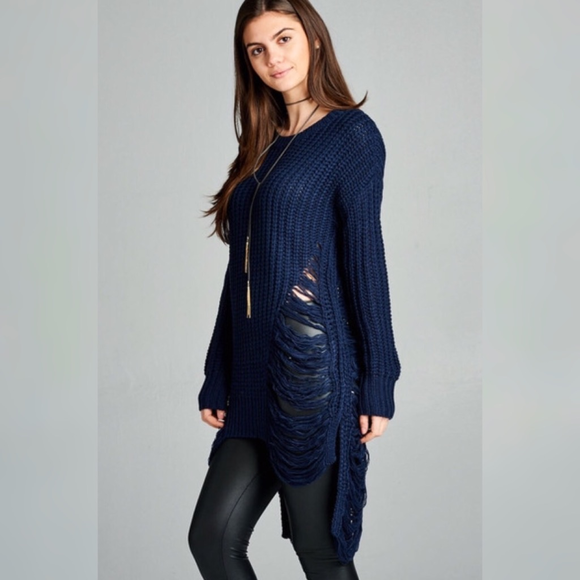 Navy Knit Frayed Long Tunic Sweater - GlamVault