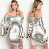 White Black Stripe Off Shoulder Bell Sleeve Dress