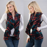 Navy & Red Plaid Waterfall Vest - GlamVault