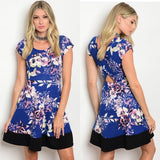 Royal Blue Dress with Floral Print