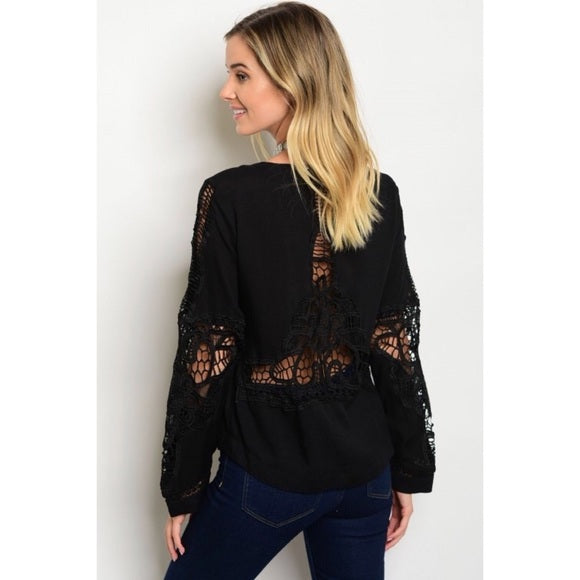 Black Crochet Lace Up Top - GlamVault