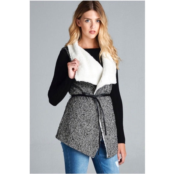 Black & White Fur Tweed Vest Jacket - GlamVault