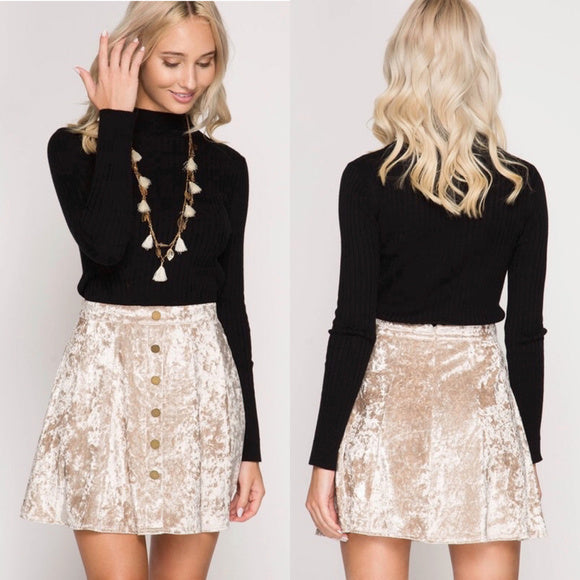 Ivory Crushed Velvet Mini Skirt with Snap Buttons - GlamVault