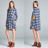 Blue and White Plaid Dress & Elbow Patches - GlamVault
