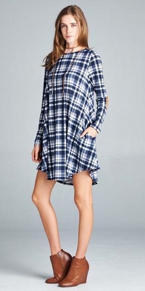Blue and White Plaid Dress With Elbow Patches