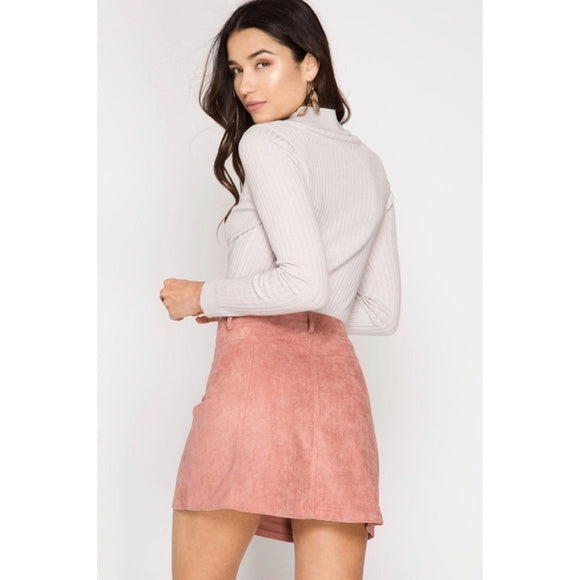 Dusty Rose Suede Button Down Mini Skirt