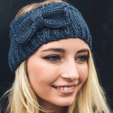 Dark Gray Bow Cable Knit Headband - GlamVault