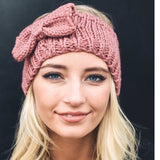 Rose Bow Cable Knit Headband - GlamVault