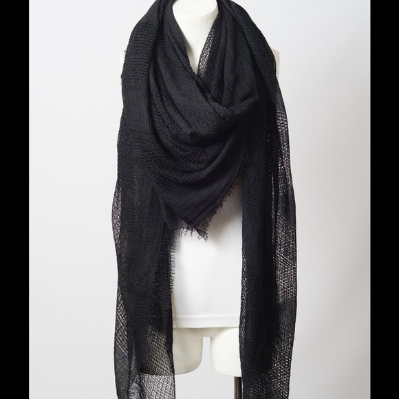 Black Frayed Edge Scarf - GlamVault