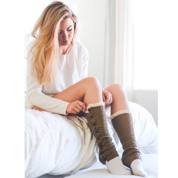 Mocha Leg Warmers with Lace Trim - GlamVault