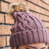 Rose Cable Knit Beanie with Pom-Pom - GlamVault