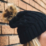 Black Cable Knit Beanie with Pom-Pom - GlamVault