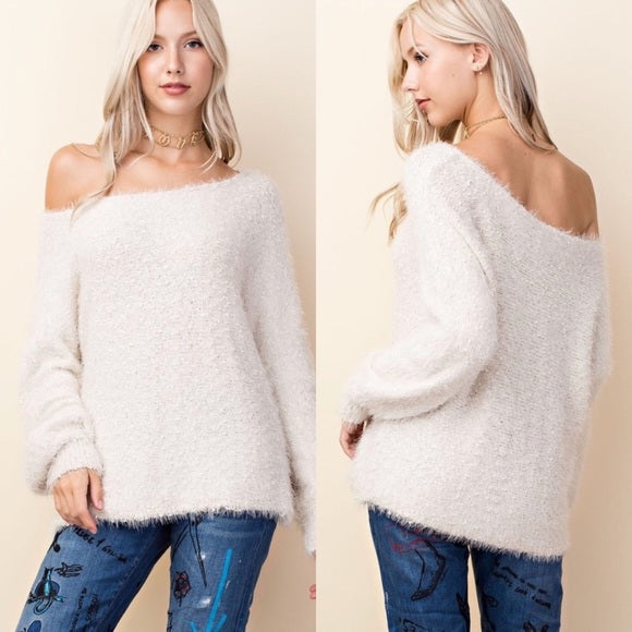 Ivory Fuzzy Knit Oversized Sweater - GlamVault