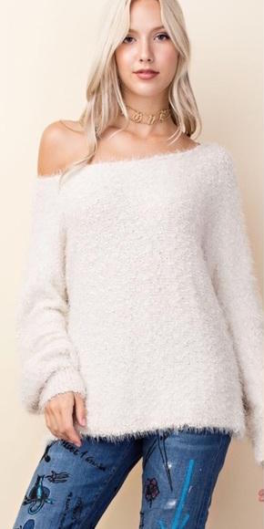 Ivory Fuzzy Knit Oversized Sweater
