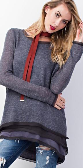 Blue Grey Ultra Soft Sweater Tunic Top with Layered Chiffon