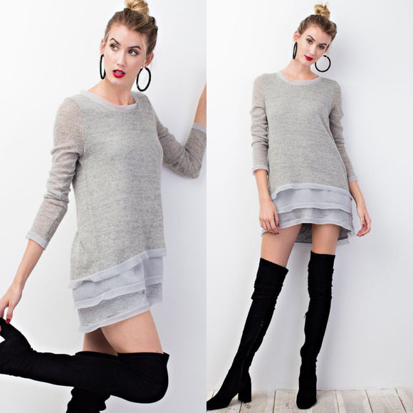 Blue Grey Ultra Soft Sweater Tunic Top with Lyared Chiffon - GlamVault