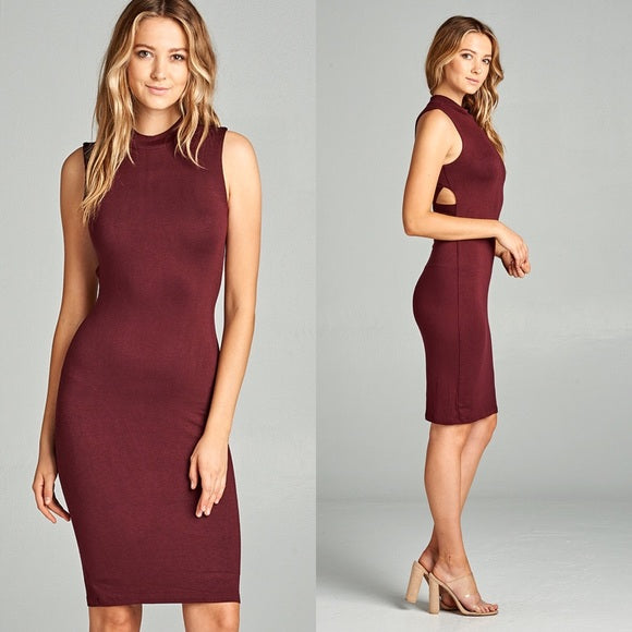 Plum Bodycon Mock Neck Cut Back Dress - GlamVault