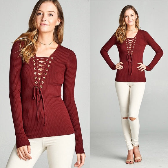 Burgundy Long Sleeve Plunge V-Neck Lace Up Sweater - GlamVault