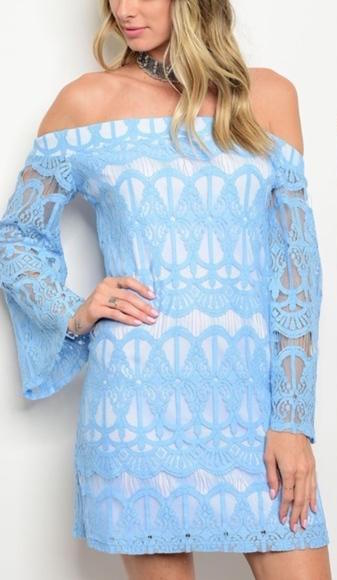 White Dress with Light Blue Lace Overlay