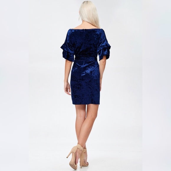 Royal Blue Ice Velvet Tiered Sleeve & Tie Waist