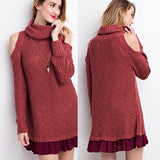 Red Bean Chunky Turtleneck Tunic with Ruffle Hem - GlamVault