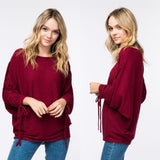 Burgundy Ruched Lace Up Sleeve Sweater - GlamVault