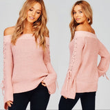 Pink Ribbed Off the Shoulder Lace Up Sleeve Sweater - GlamVault