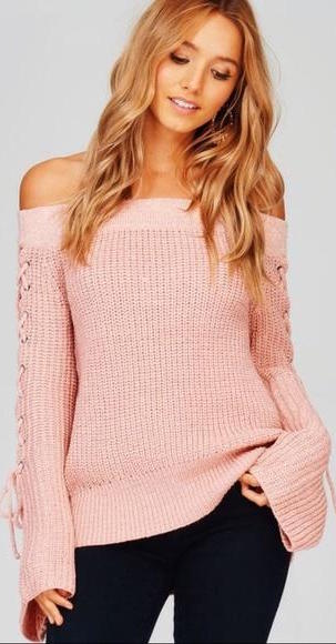 Pink Ribbed Off the Shoulder Lace Up Sleeve Sweater