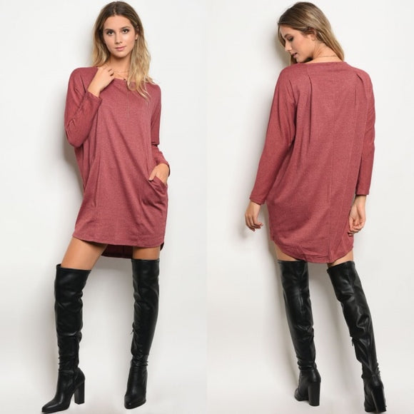 Burgundy Pocket Sweater Dress - GlamVault