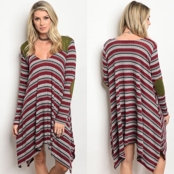 Burgundy Stripe Knit Sweater Dress with Suede Patches - GlamVault