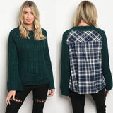 Chunky Knit Sweater with Plaid Back - GlamVault