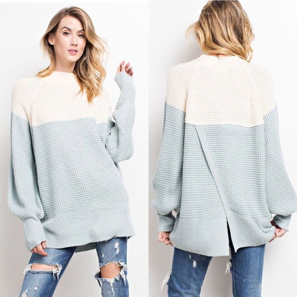 Cozy Knit Color Block with Overlap Back Detail - GlamVault
