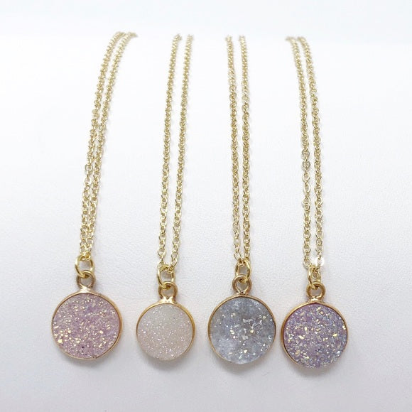 Neutral Round Druzy Necklaces - GlamVault
