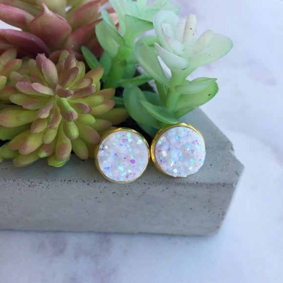 Opal Resin Druzy with Gold Setting