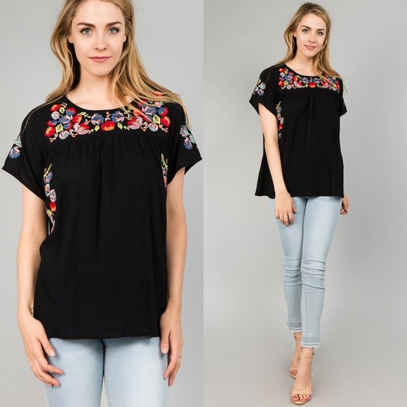 Bell Sleeve Floral Embroidered Top