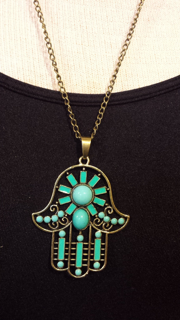 HAMSA TURQUOISE COLORED STONES CHAIN NECKLACE
