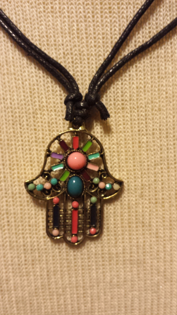 Hamsa Beaded Pendant Adjustable Necklace
