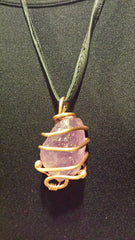 NECKLACE AMETHYST STONE HAND MADE WRAPPED WITH COPPER WIRE , BLACK LEATHER CORD