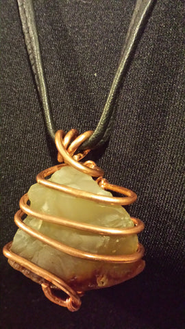 NECKLACE CARNRLIAN STONE COPPER WIRE WRAPPED WITH BLACK LEATHER ADJUSTABLE CORD