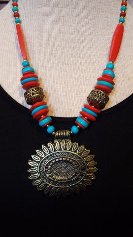 Necklace Red and Turquoise resin beads