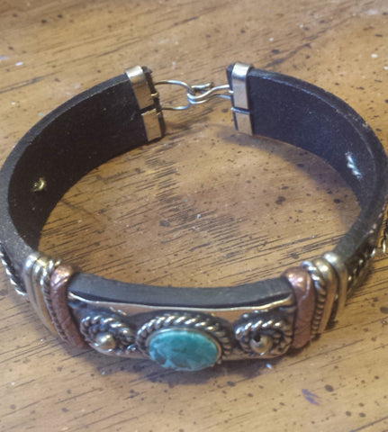 BRACELET BLACK LEATHER COPPER BRASS TURQUOISE STONE