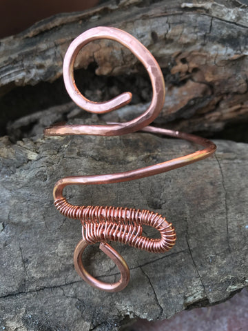 Double Spiral Band , Bangle , Cuff , Bracelet , Boho Cuff  , Copper Wire Bracelet