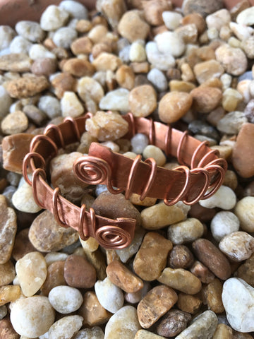 Spiral Band , Bangle , Cuff , Bracelet , Boho Cuff  , Copper Wire Bracelet