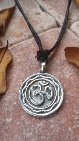 Om  Silver tone Round Metal Pendant Adjustable Necklace