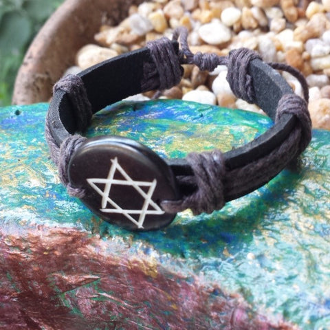 Adjustable Star of David Leather Bracelet