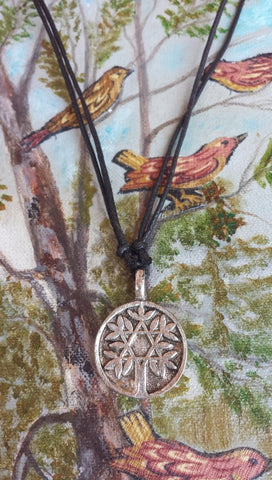Tree Of Life Silver tone Metal Adjustable Round Pendant Necklace