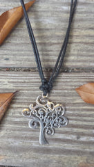 Tree of Life Silver tone Metal Adjustable Necklace