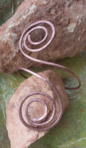 Double Spiral Arm Band , Arm Bangle , Arm Cuff , Upper Armlet Arm Bracelet , Upper Arm Jewelry ,Boho Arm Cuff  , Copper Wire Bracelet