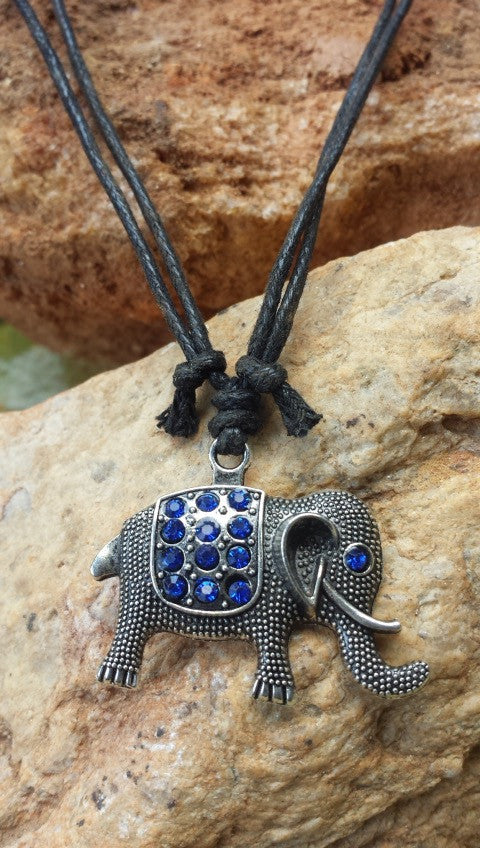 Elephant Silver tone, 12 Blue Crystals Adjustable Necklace